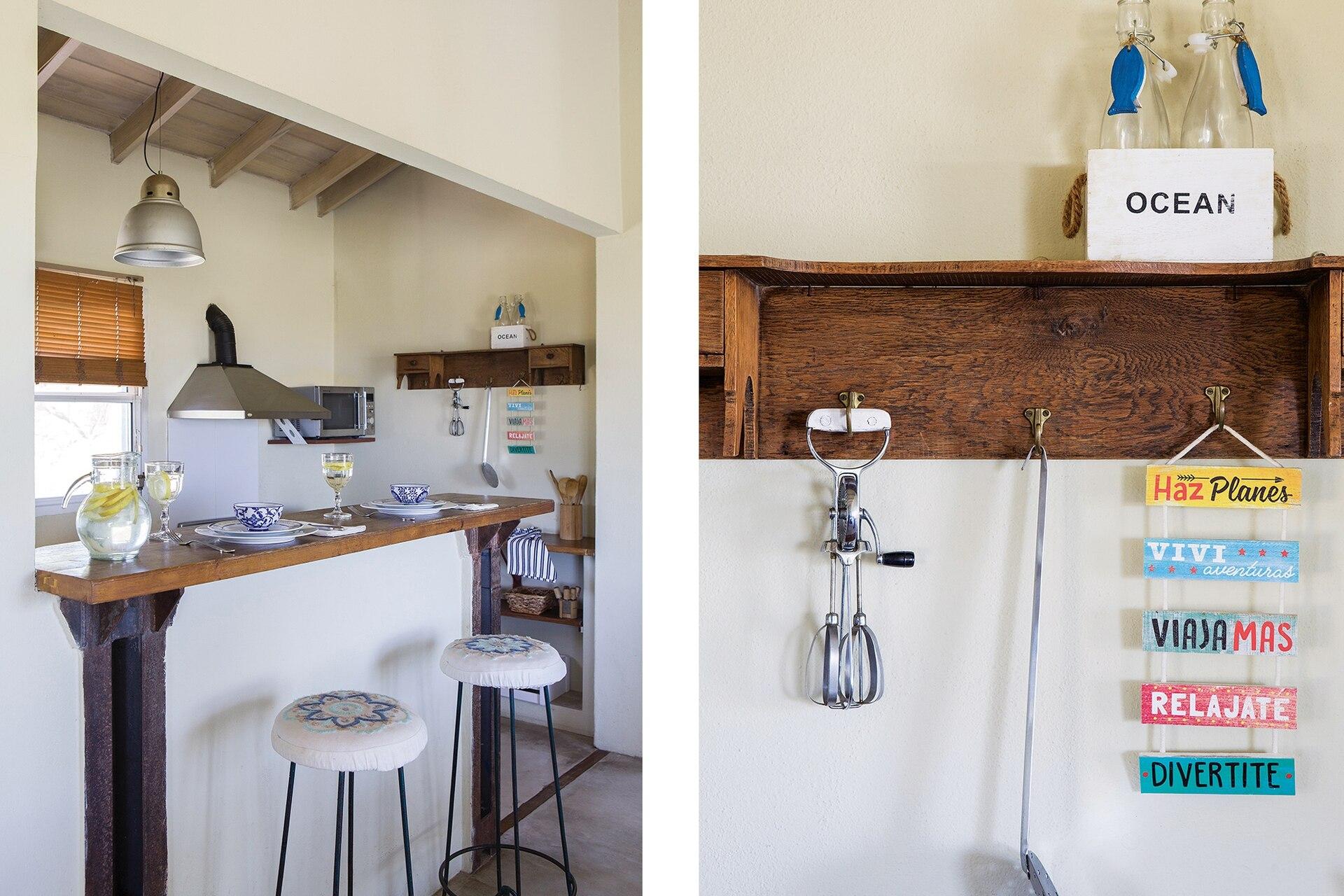 Lámpara (Huup Iluminación). Servilletas de algodón (Claudia Adorno). Estantes de madera hechos por Matías.