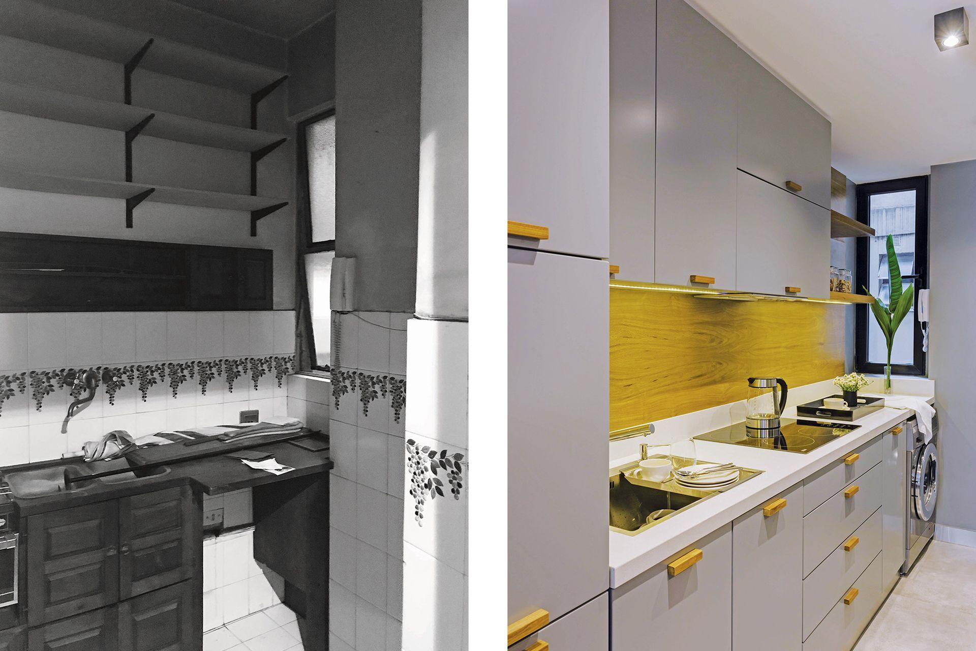 ANTES: la cocina estaba revestida con azulejos, muebles de madera y ventiluz.