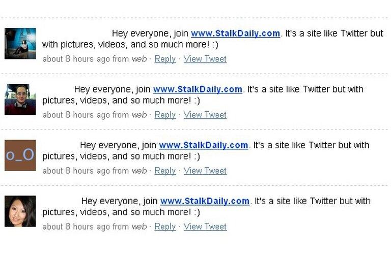 Asi se veían los mensajes que el gusano utilizaba para expandir su ataque en Twitter