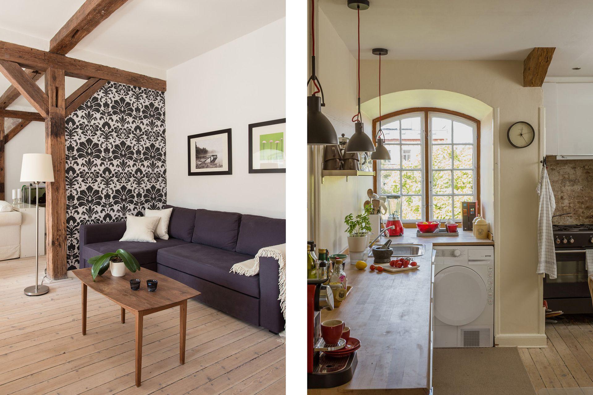 El sillón de tres cuerpos que se convierte en amplia cama –vista de lujo en ambas posiciones–, uno de los pocos acentos oscuros de la casa.