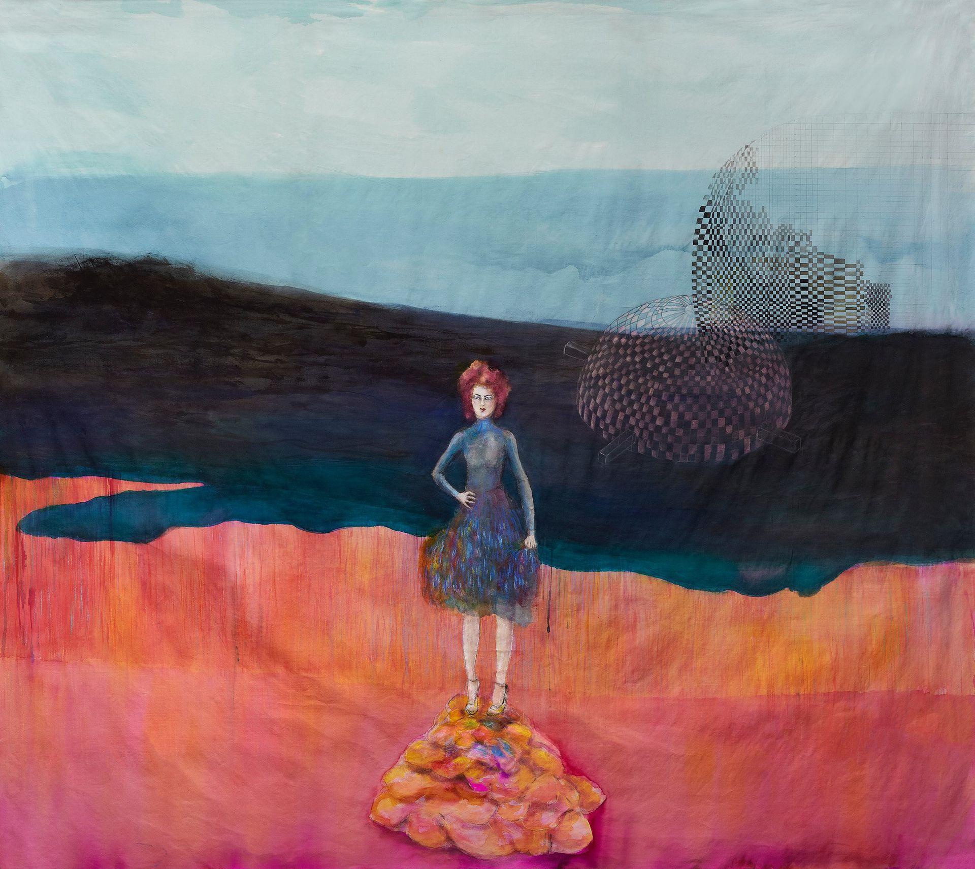 Naturaleza y mujer en vestido azul, 2015