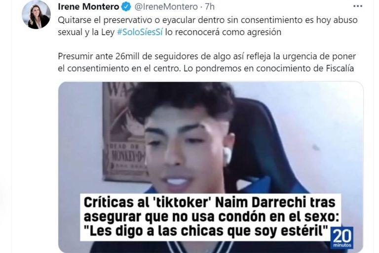 El tuit de Irene Montero, ministra de Igualdad, sobre los dichos de Naim Darrechi