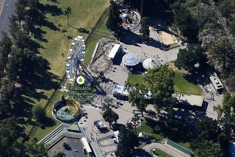 Vista aérea en Google Maps del parque accidentado