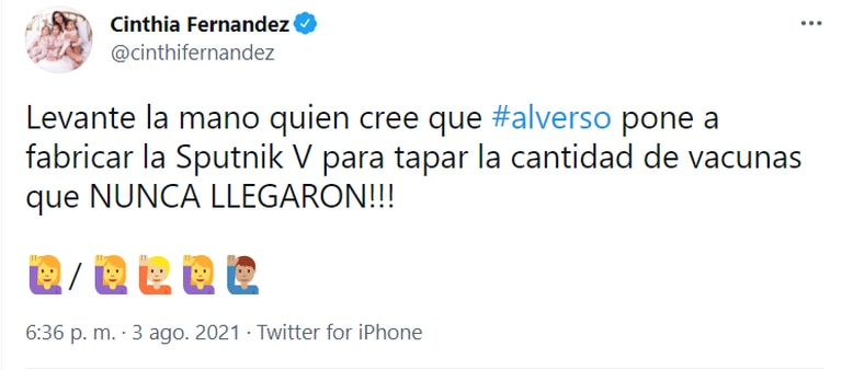 El tuit de Cinthia Fernández que generó un gran revuelo en redes