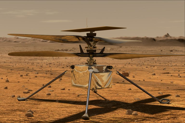Una representación artística de Ingenuity, el dron de la NASA que busca convertirse en el primer vehículo en realizar el primer vuelo en la delgada atmósfera de Marte