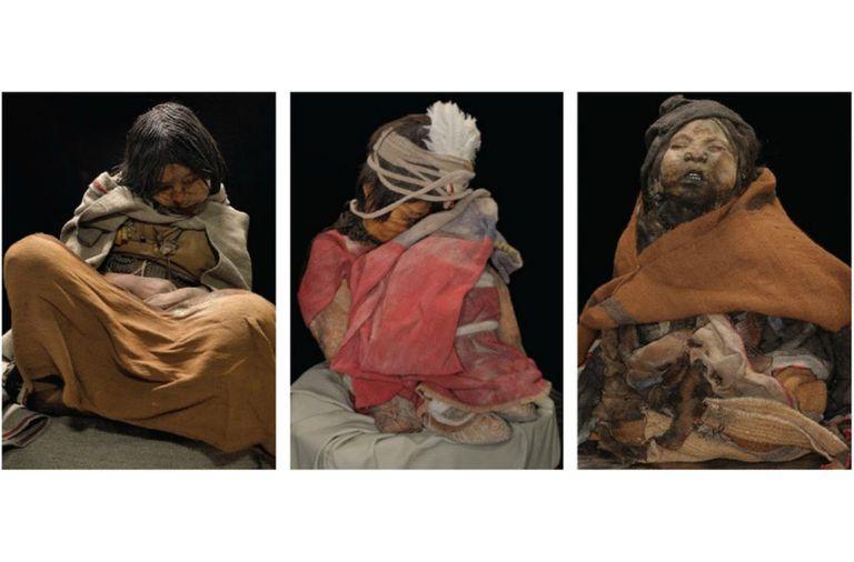 La Doncella, el Niño y la Niña, las tres momias encontradas en la cima del volcán Llullaillaco.