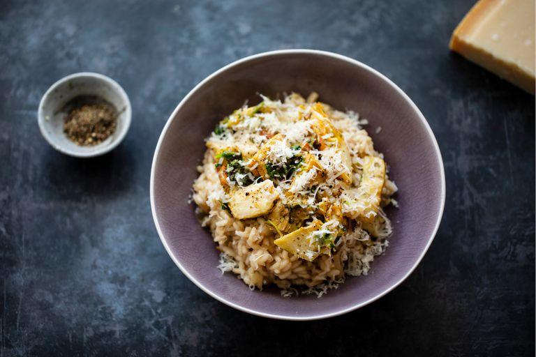 Alcauciles con arroz carnaroli