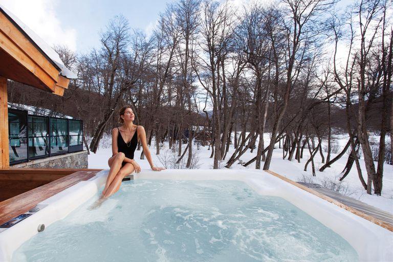Siempre diosa, la top inauguró el spa del Castor Ski Longe donde todas las tardes se relajaba después de la intensa jornada en la montaña