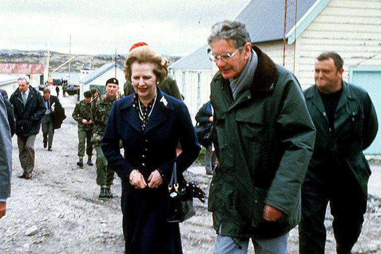 Margaret Thatcher, durante una visita a las islas Malvinas en 1983