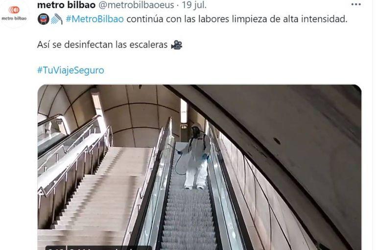 El tuit que subió el Metro de Bilbao el lunes pasado dio que hablar en las redes