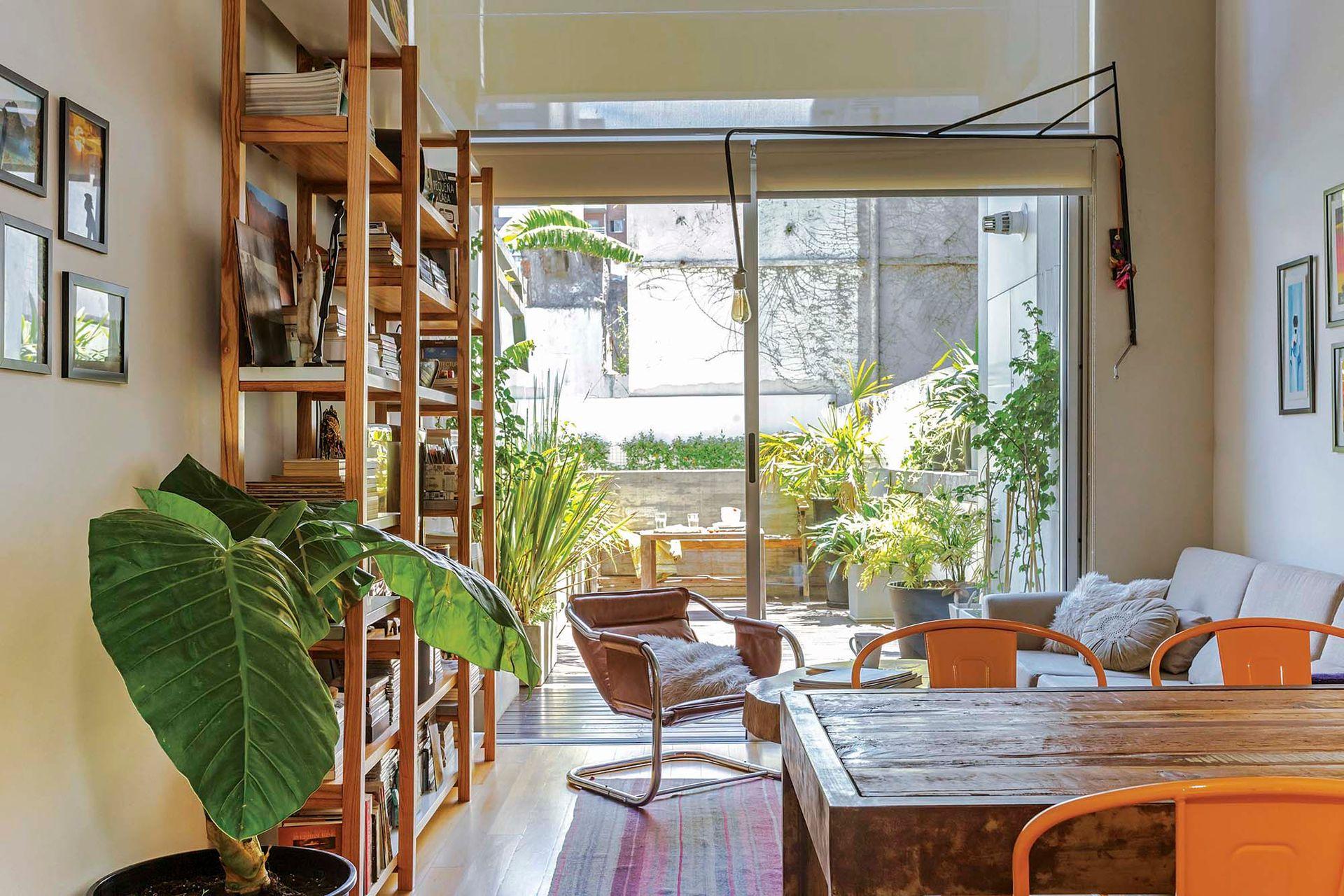 En el sector del living, sofá 'Grecia' de tres cuerpos con base de paraíso (Flip Haus), sillón individual comprado en una feria de La Plata y alfombra traída de un viaje.