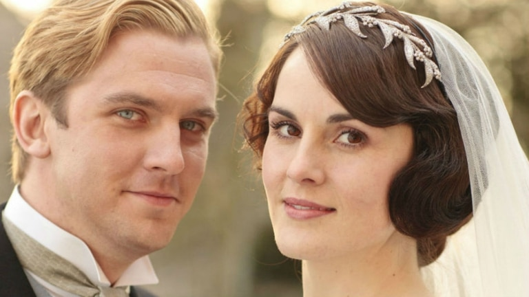 Junto a Michelle Dockery en Downton Abbey