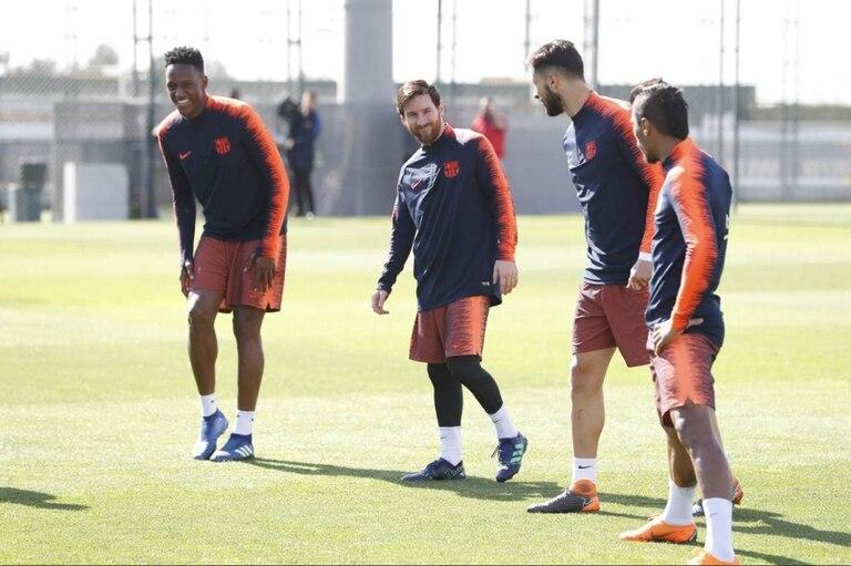 La sonrisa de Messi en la práctica de hoy, en el complejo Tito Vilanova de Barcelona