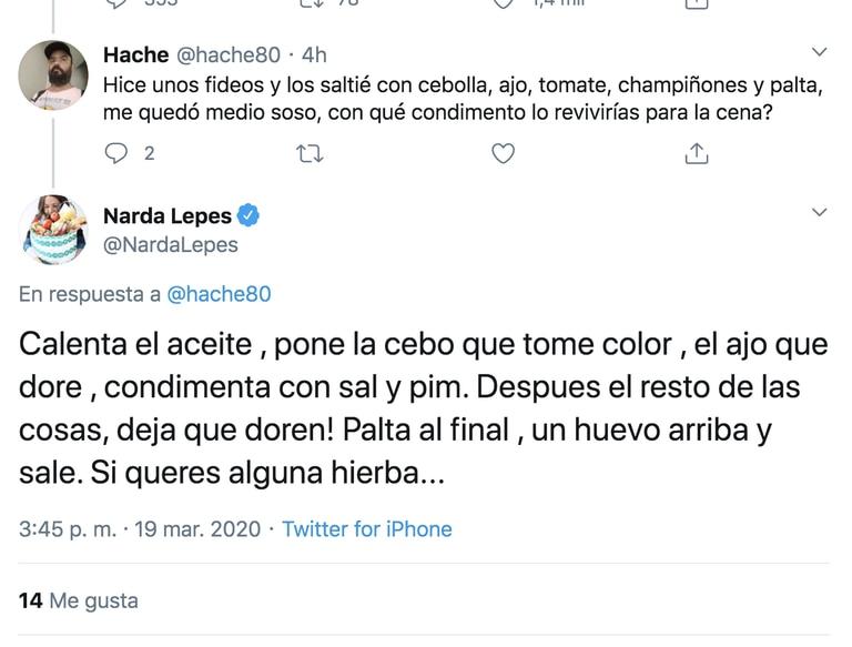 Narda respondió preguntas en Twitter y fue Trending Tópic.