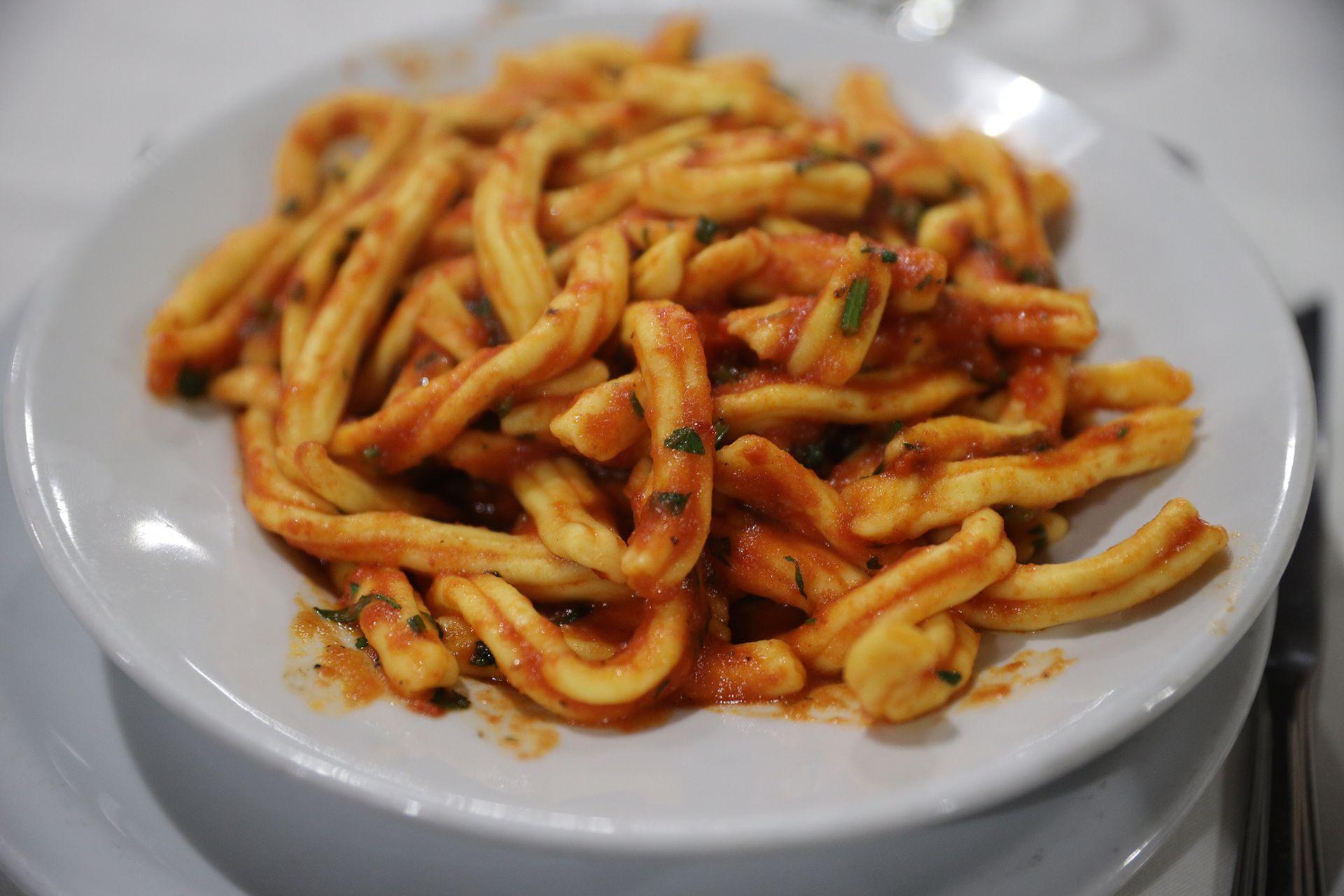 Fusili scarparo, uno de los platos más pedidos