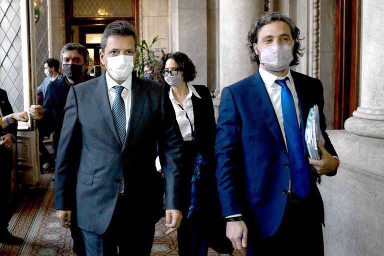 Santiago Cafiero; Sergio Massa y Máximo Kichner