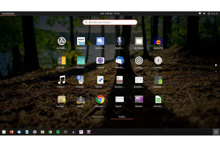 Menú de aplicaciones de Ubuntu 20.04