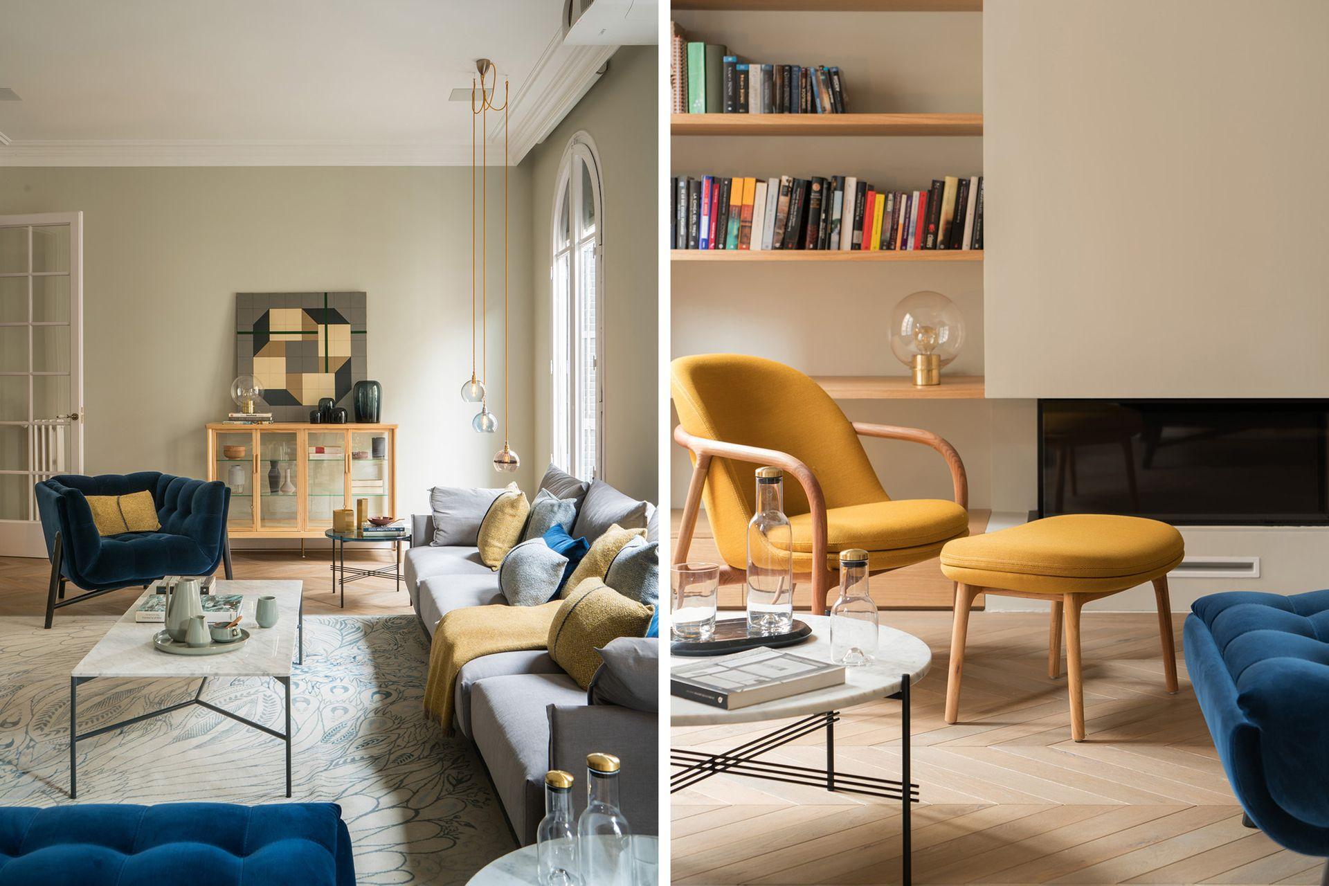 """La luminosidad del amarillo y la estabilidad del azul conforman una tendencia que arrasa. """"De esa combinación resulta un salón elegante y dinámico"""", describen los expertos del estudio."""