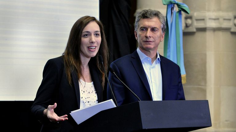 Vidal y Macri, ayer, en Quilmes al anunciar el plan del Estado