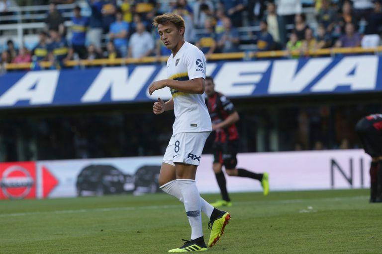 Mateo Retegui, en uno de sus pocos encuentros en Boca.