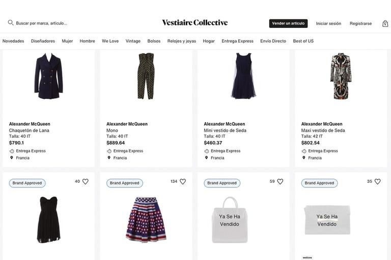 En el sitio web Vestiaire Collective venden prendas vintage diseñadas por Alexander McQueen