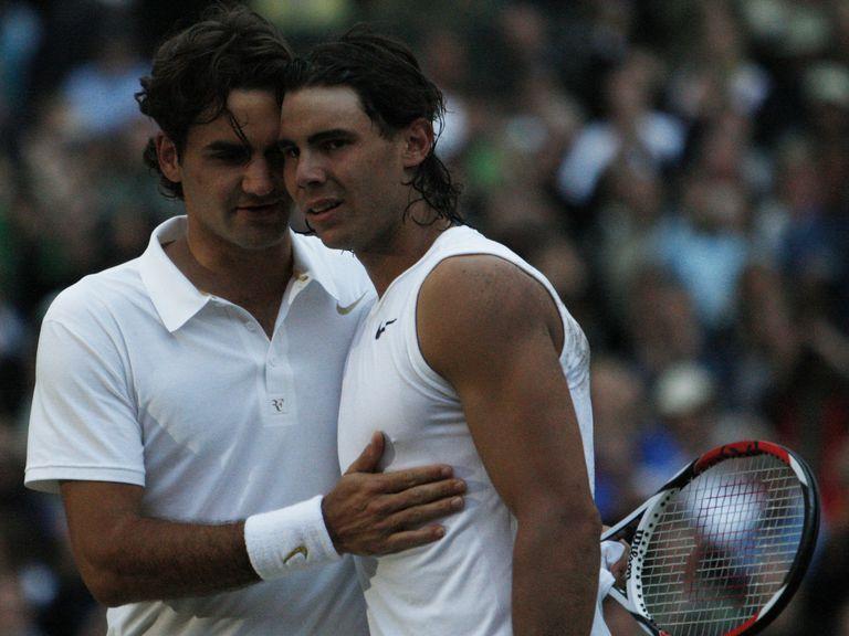Domingo 6 de julio de 2008: el saludo entre Federer y Nadal después de disputar, en Wimbledon, una de las mejores finales de Grand Slam de la historia (triunfo del español en cinco sets).