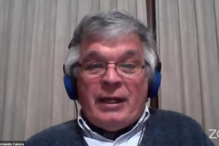 El consultor ganadero Fernando Canosa durante el seminario virtual