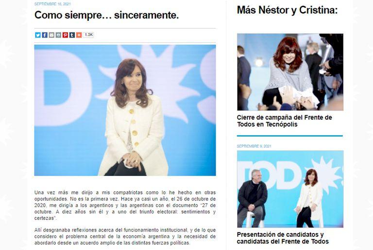 Cristina Kirchner rompió el silencio y le exigió al Presidente un cambio de rumbo