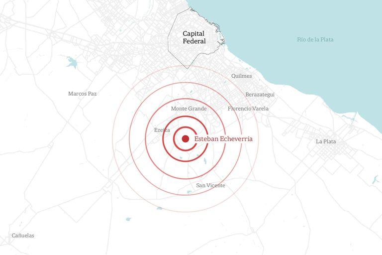 El epicentro del sismo fue en la localidad de Esteban Echeverría