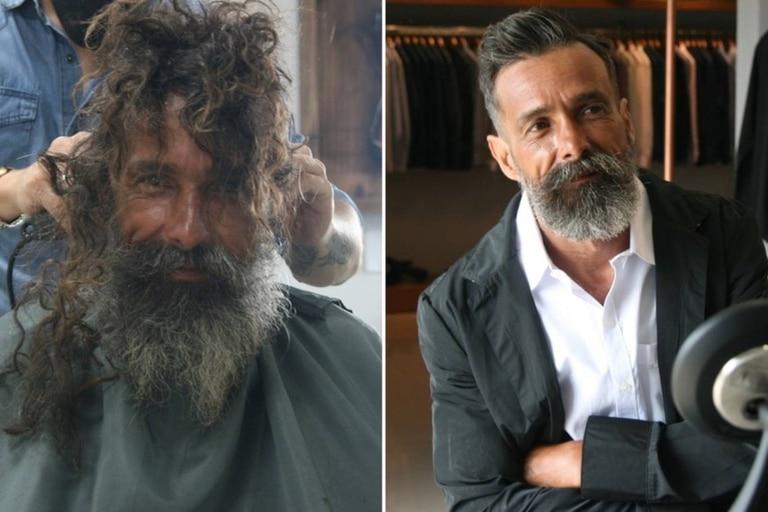 Joao Coelho Guimaraes vive en la calle hace 10 años, y un peluquero le ofreció realizarse un cambio de look que luego se viralizó y llegó hasta la hermana del hombre sin techo