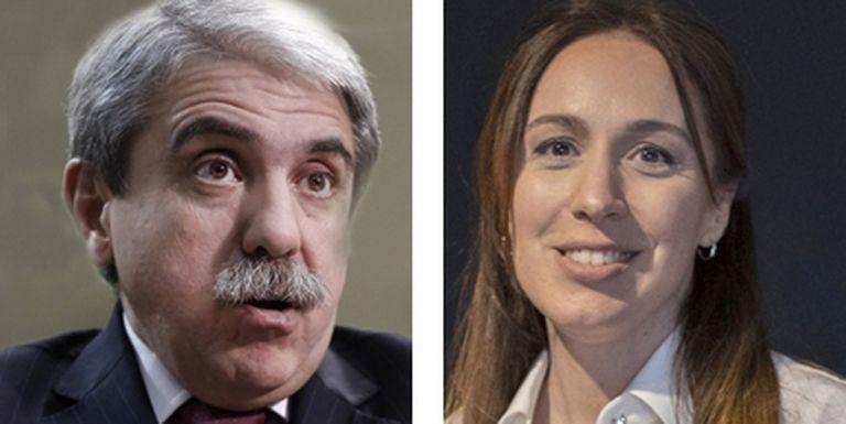 El ministro de Seguridad, Aníbal Fernández, y la candidata a diputada, Maria Eugenia Vidal
