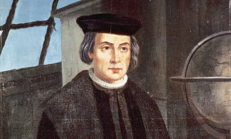 Cristóbal Colón (1451-1506), retrato de JoséChristopher Columbus (1451-1506): portrait by Jose Roldan, monastery of La Rabida, Andalusia. Photograph: Alamy