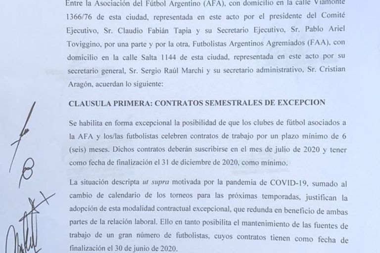 Facsímil del contrato marco celebrado entre Agremiados y la AFA que habilita a los clubes a firmar contratos entre julio y diciembre de este año.