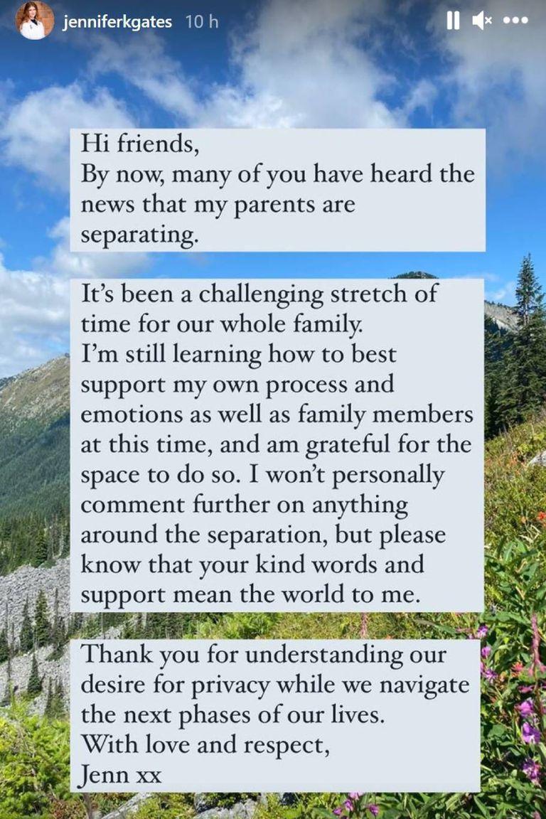 EL mensaje de Jennifer Gates, en su cuenta de Instagram