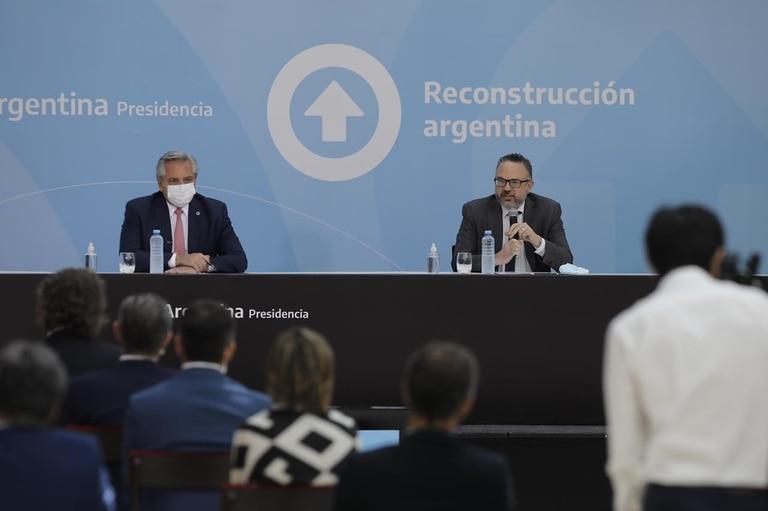 El presidente Alberto Fernández y el ministro de Desarrollo Productivo, Matías Kulfas.
