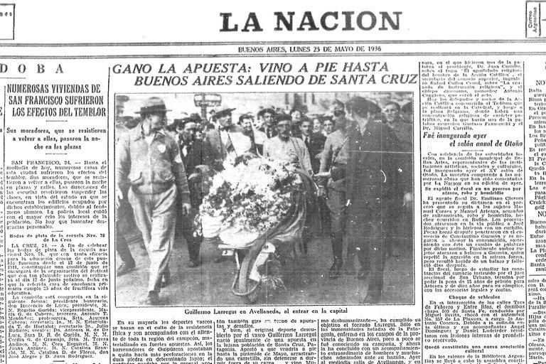 La noticia publicada en La Nación en 1936.
