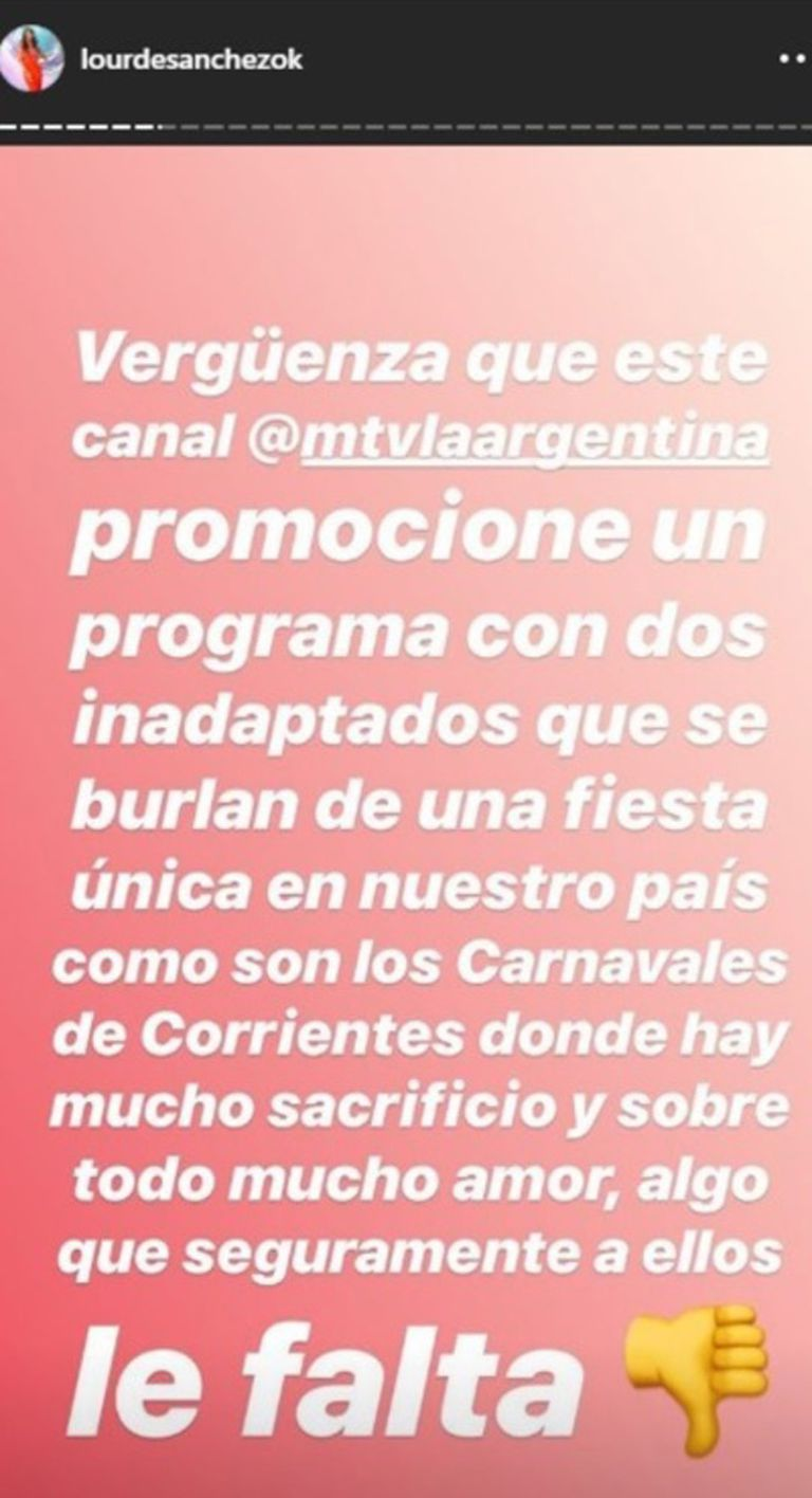 El mensaje de Instagram de Lourdes Sánchez contra los hermanos Caniggia