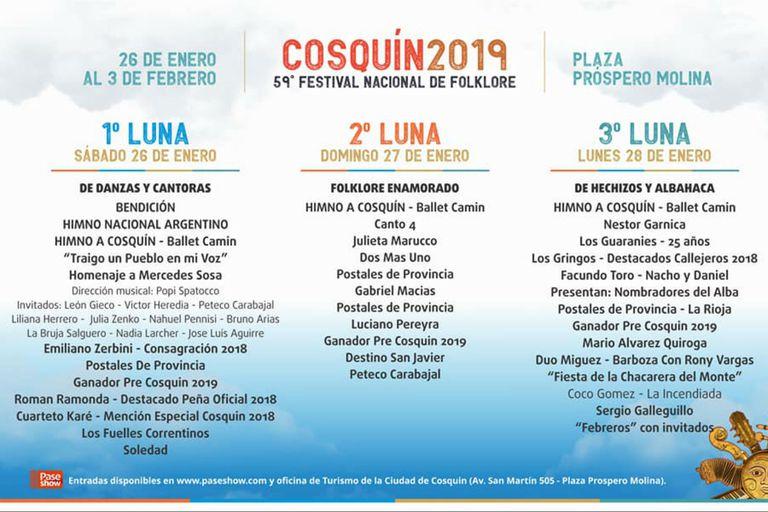 La programación del festival folclórico de Cosquín 2019
