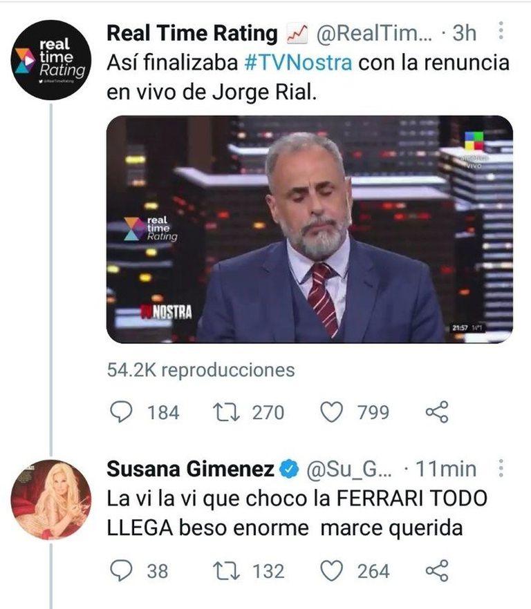 El tuit de Susana Giménez contra Jorge Rial en Twitter tras finalizar su ciclo