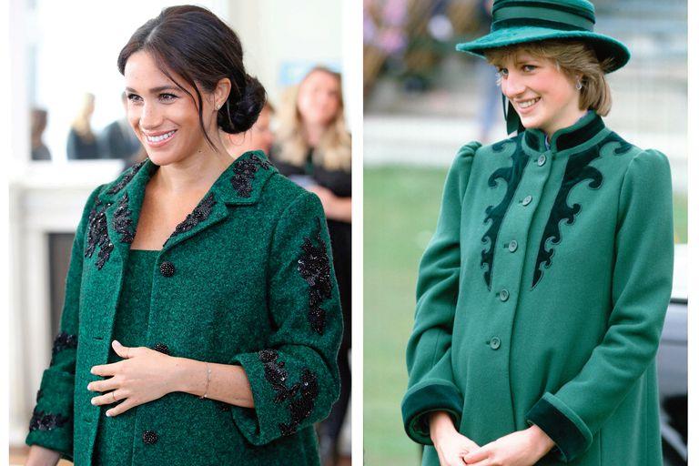 Una coincidencia cromática durante sus embarazos: una primeriza Meghan con tapado de Erdem, en 2019, y Diana, embarazada de William, con abrigo verde de Belville Sassoon, en 1982.
