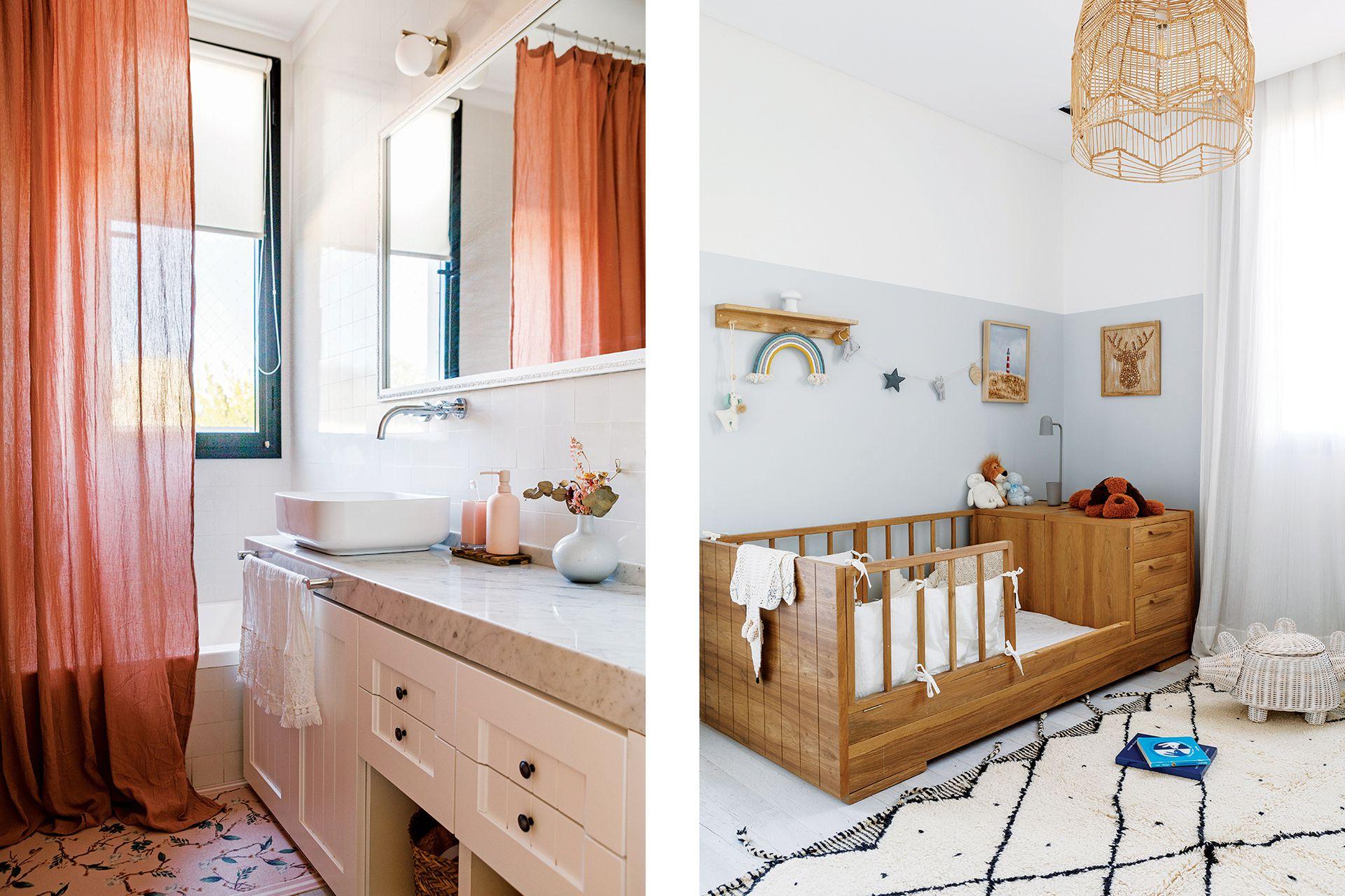 El baño fue reciclado con un mueble laqueado (Dwell), bacha 'Tori' (Ferrum) y mesada de Carrara (Marmolería Forte dei Marmi). Cortina rosa oscuro de gasa pañalera (Belgika).
