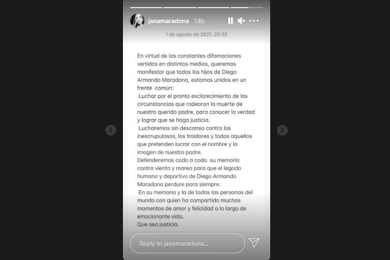 Captura de pantalla de historias en Instagram de Jana Maradona