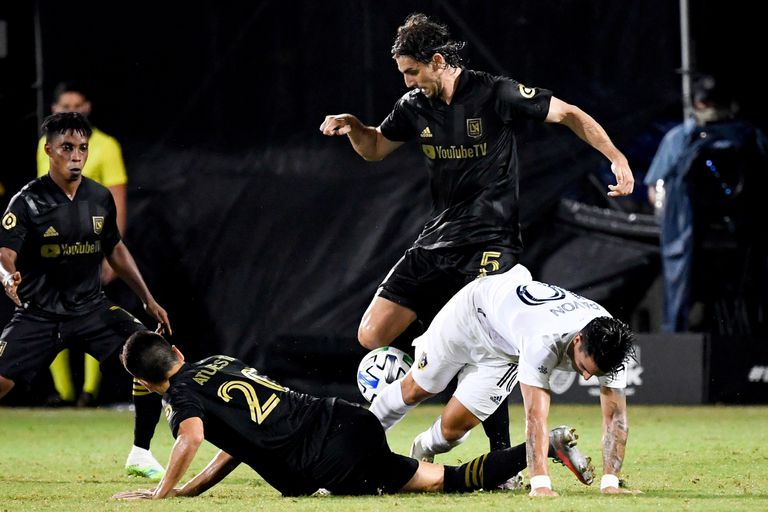 Los Angeles FC forward Bradley Wright-Phillips (66) reacts after scoring against the Los Angeles Galaxy during the second half at ESPN Wide World of Sports