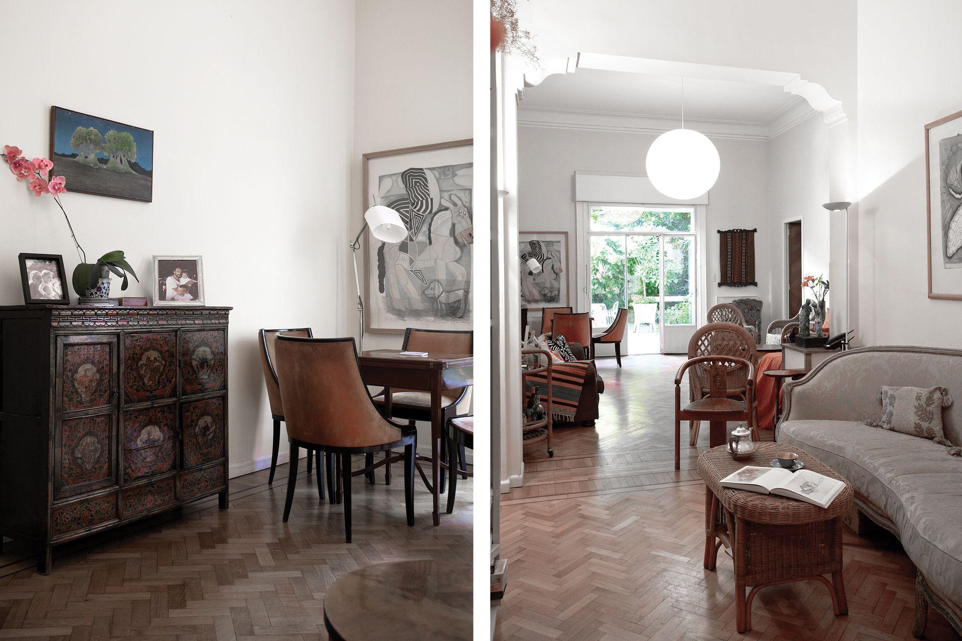 Su departamento –ubicado en la planta baja– es su edén privado, y cada rincón guarda un recuerdo. Las molduras art déco –así como también los pisos– son los originales.