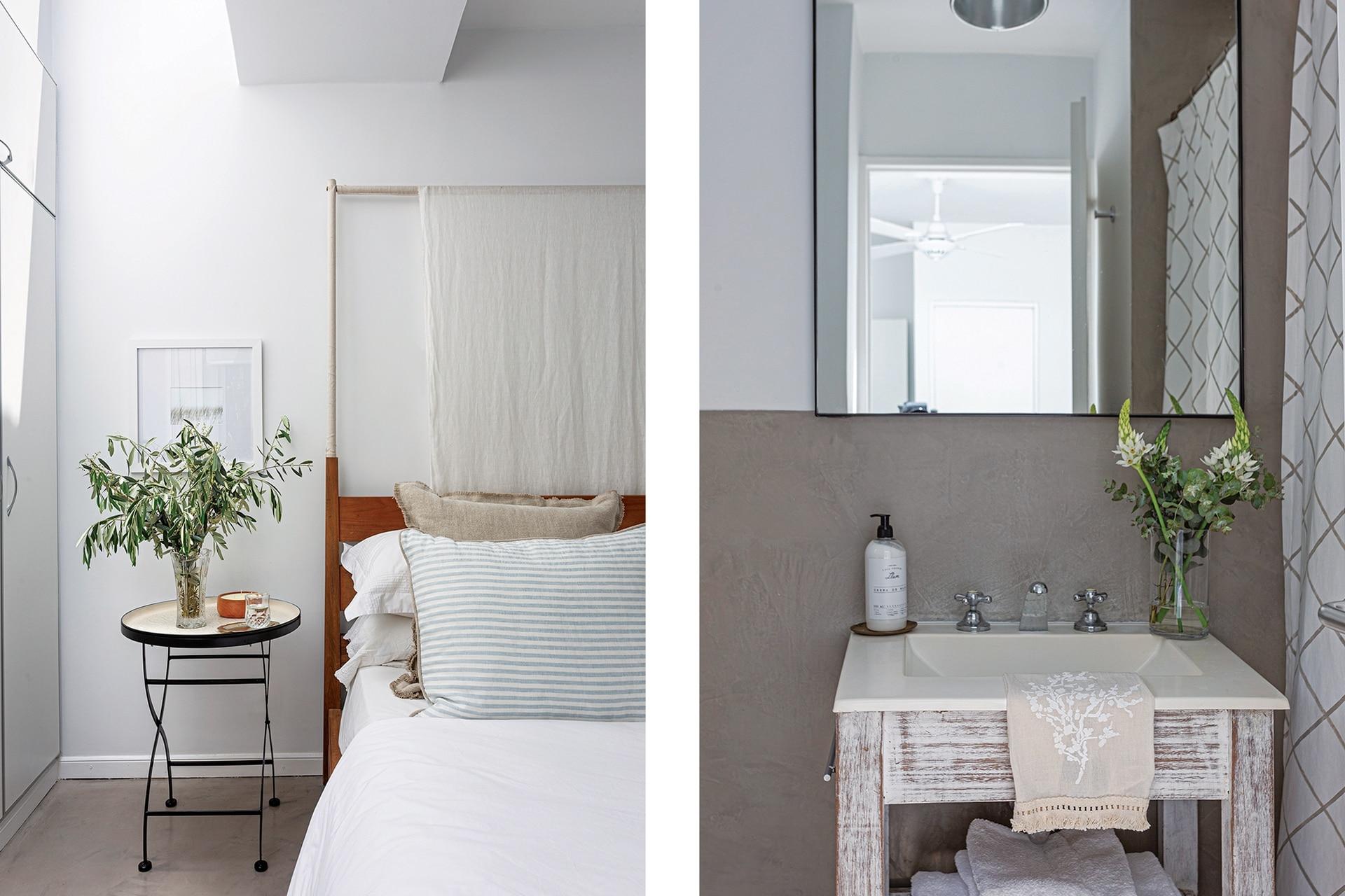 Cama de petiribí con base tapizada en lino y baldaquino traída de la casa anterior. Toalla de mano (Natural Cosas Simples).