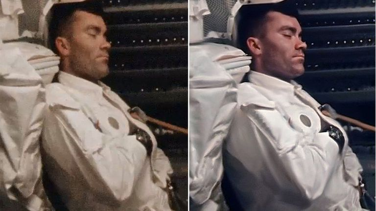Fred Haise toma una siesta. Estas dos fotos del mismo evento muestran el antes y después de la imagen original de la película de 16 mm (a la izq.) y el resultado tras su procesamiento múltiple (der.). Entre otras cosas, Saunders tuvo también que corregir la distorsión causada por el lente gran angul
