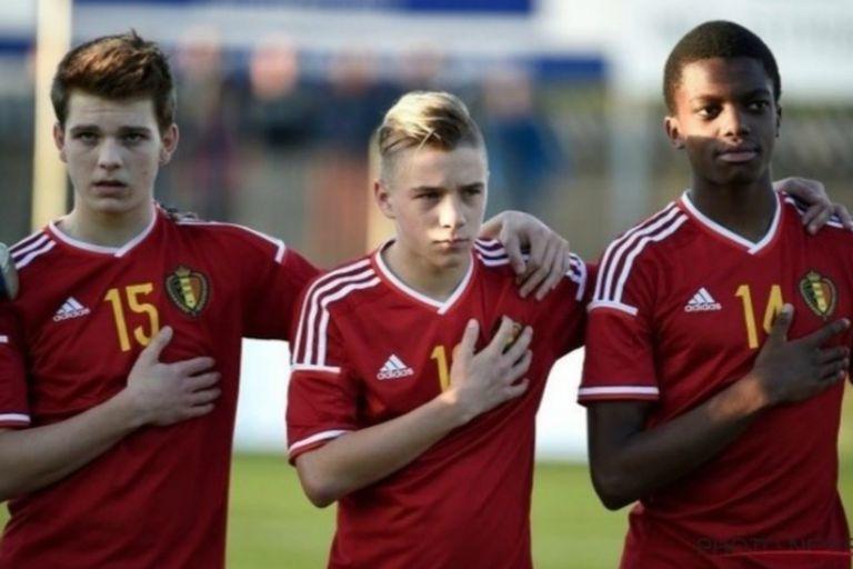 Evenepoel, en el medio, en sus tiempos como juvenil futbolista de la selección belga