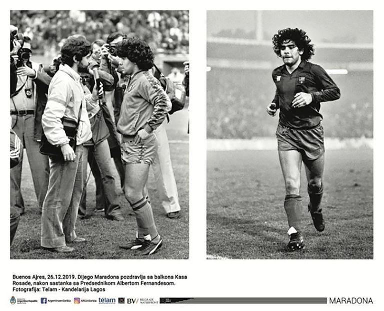 El recorrido histórico se detiene en diferentes etapas de la carrera y la vida personal de Diego Maradona