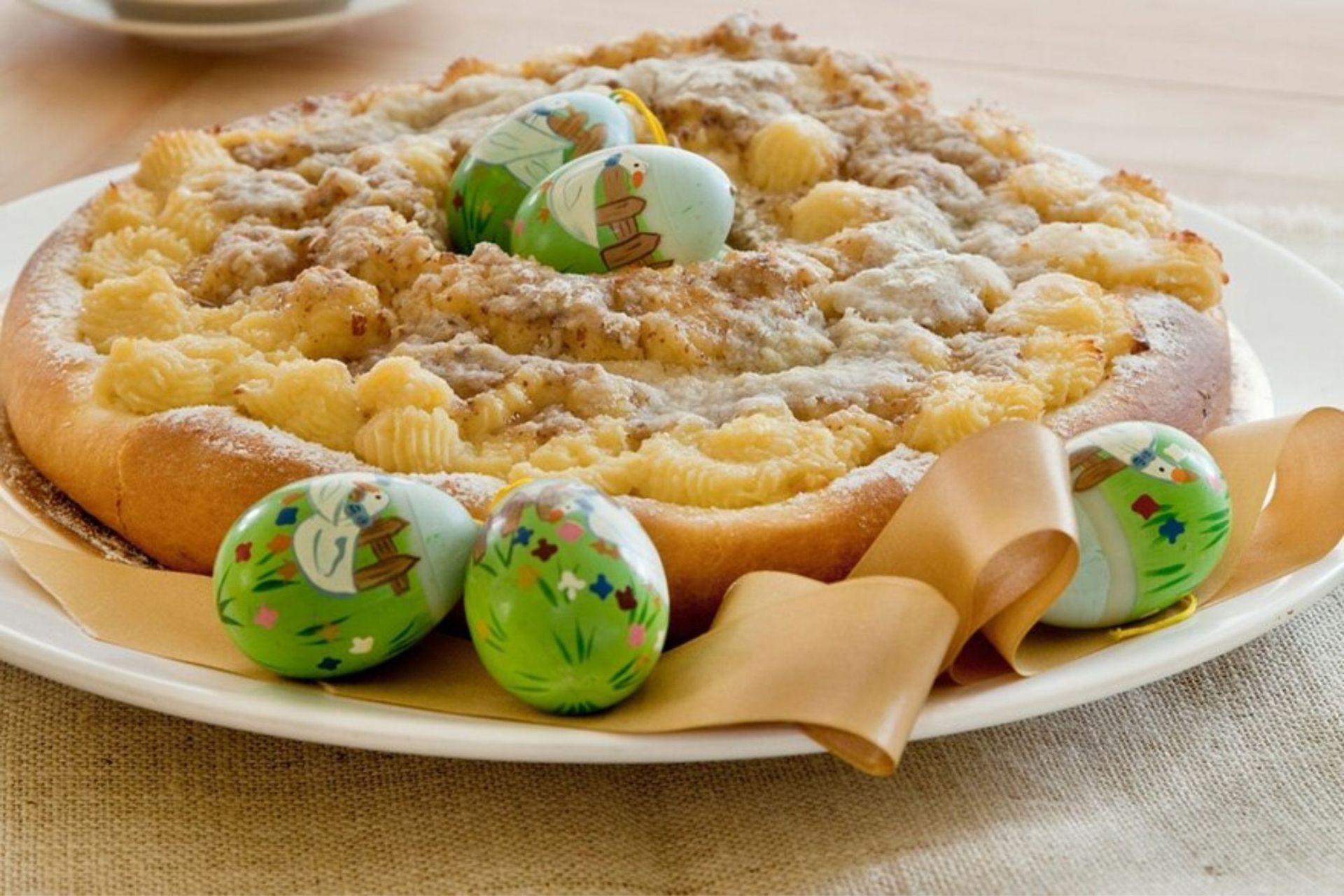 Rosca de pascua con frangipane y crema pastelera