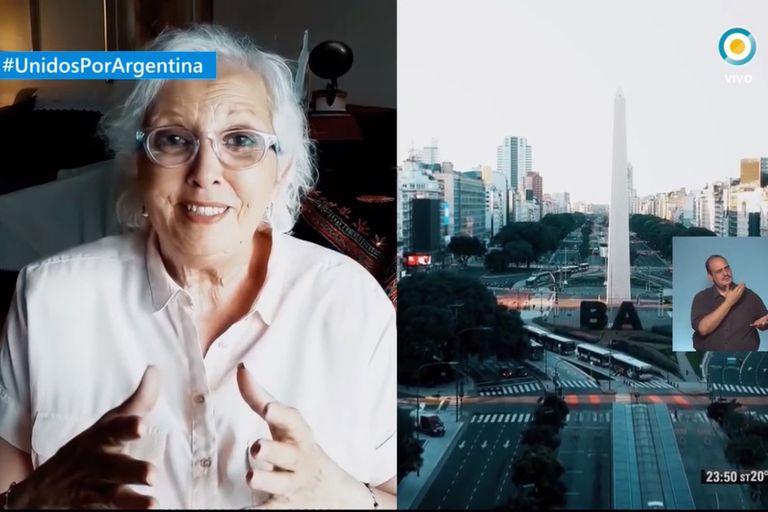Susana Rinaldi y varios artistas cerraron el especial Unidos por Argentina cantando el Himno Nacional
